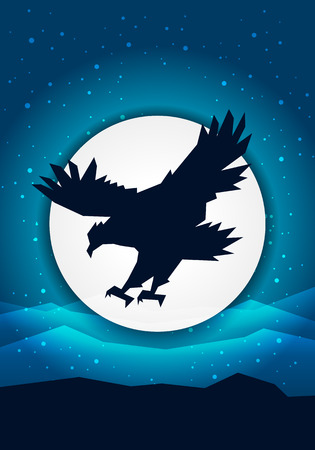 vector illustration silhouette eagle in front of the moon