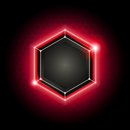 vector illustration red abstract modern metal cyber technology background with poly hexagon pattern and violet light