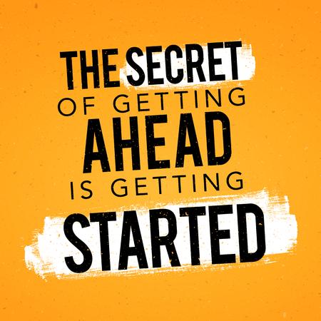 Vektor-Illustration Typografie-Banner-Design-Konzept Das Geheimnis des Weiterkommens beginnt. Inspirierende Motivations-Zitat-Vorlage.