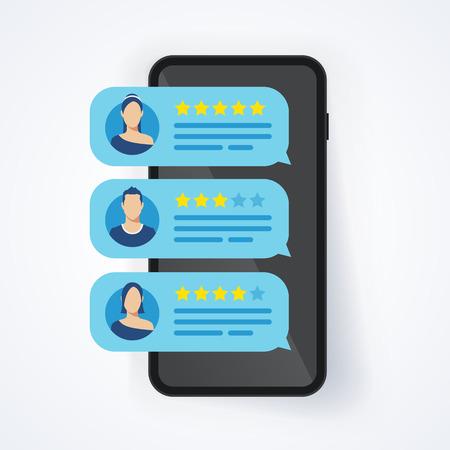 Vector illustratie feedback review beoordeling sterren zeepbel vlekje op mobiele telefoon, smartphone met goede en slechte koers