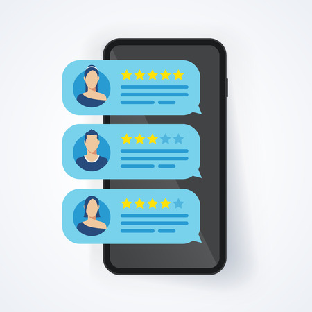 Vektor Illustration Feedback Bewertung Bewertung Sterne Blase Fleck auf Handy, Smartphone mit guten und schlechten Rate