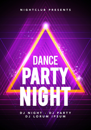Vector illustration dance party poster background template with glow lines, highlight and modern geometric shapes in pink and blue colors. Music event flyer or abstract banner Vector Illustration