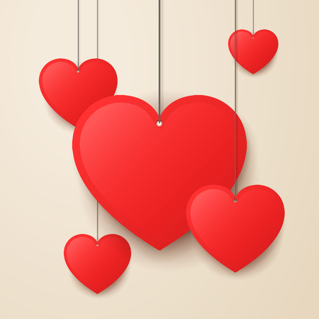 vector illustration hanging valentines day heart Illustration