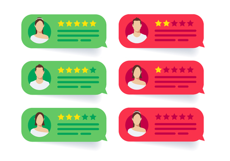 Vector illustration feedback review stars rate, rating bubble speeches. Modern style cartoon character avatar icon design