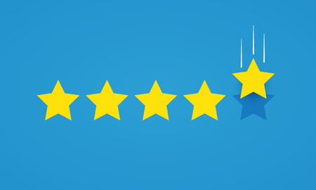 Vector illustration. Rating concept with five stars icon for good or bad rate.