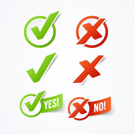 Ilustracja wektorowa Tak lub nie etykiety naklejki ze znacznikiem wyboru Ilustracje wektorowe