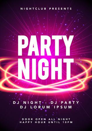 Vectorillustratie van party night dance muziek poster sjabloon. Electro stijl concert disco club flyer uitnodiging voor evenement