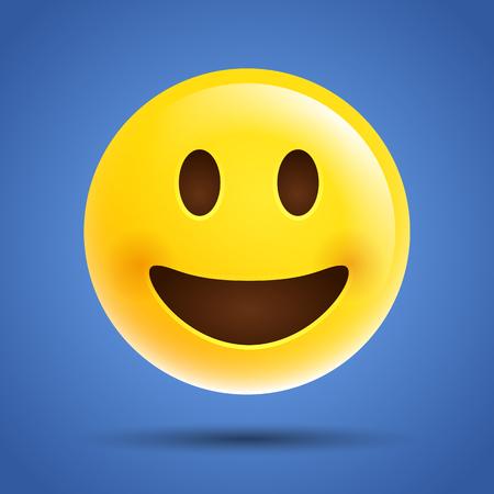 Modern vector simple emoticon, emoji, smile laugh face icon