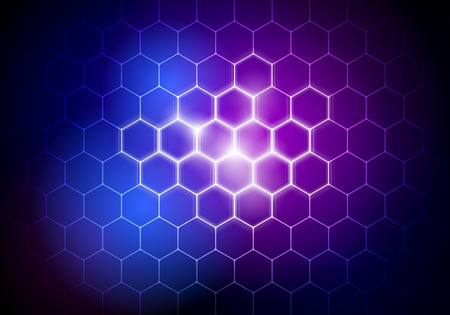 vector illustration abstract futuristic big data hexagon background, HUD element, technology concept 矢量图像