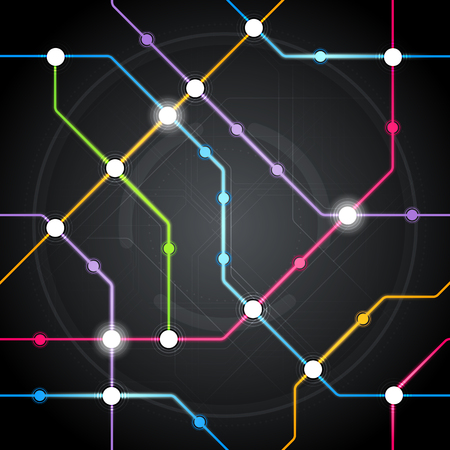 Vector abstract seamles colorful future cyber metro scheme, railway transport or city bus map pattern on black background