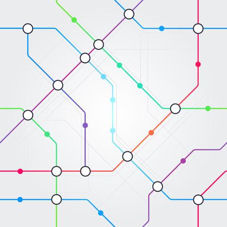 Vektor bunte abstrakte nahtlose U-Bahn-Schema, Bahnverkehr oder Stadtbus-Kartenmuster auf hellgrauem Hintergrund