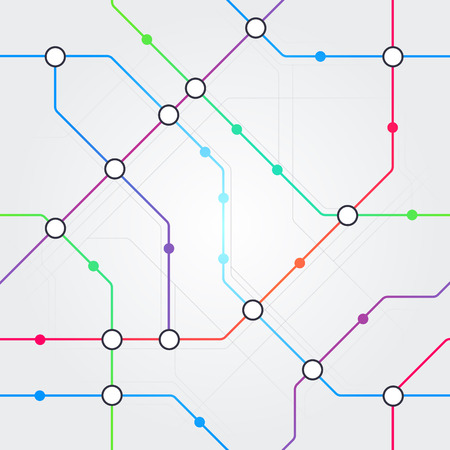 Wektor kolorowy streszczenie bezszwowe metro schemat, transport kolejowy lub autobus miejski wzór mapy na jasnoszarym tle