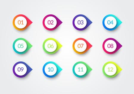 Marqueurs 3d de gradient coloré de point de balle de flèche de vecteur avec le numéro 1 à 12 Vecteurs