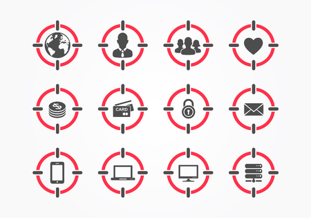 Vector Target On Person Assassin Icon Set. Targeting Composite Icons With Audience, World, Men, Group Of People, Heart, Money, Credit Card, Security, Mail, Mobile Phone, Computer, Server
