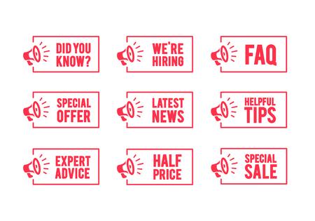 Etykieta wektor megafon, czy wiesz, zatrudnianie, często zadawane pytania, oferta specjalna, aktualności, porady, cena, porady