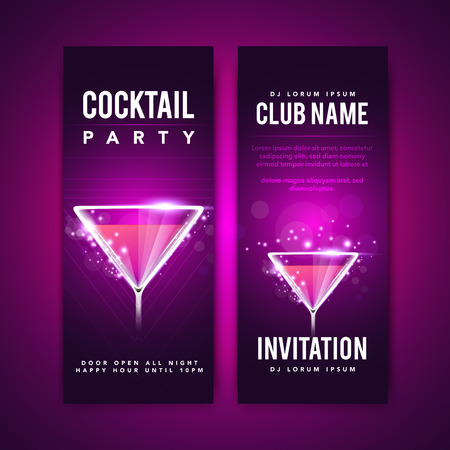 Vector Illustration Cocktail Party Invitation. Flyer or Poster Design Template with Cocktail Glass and Text