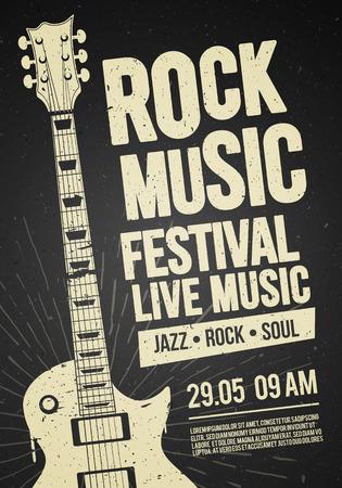 vector illustration black rock festival concert flyer ou modèle de conception d & # 39; affiche avec guitare, place pour le texte et des effets sympas en arrière-plan