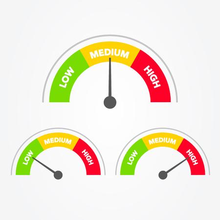 Illustration vectorielle Échelle du compteur de vitesse du vert au rouge et blanc bas, moyen et haut