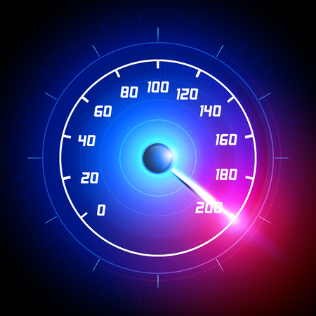 Vector illustration Car speedometer dashboard icon. Speed ??meter fast race technology design measurement panel. Pushing to limit with cool energy glow effects.