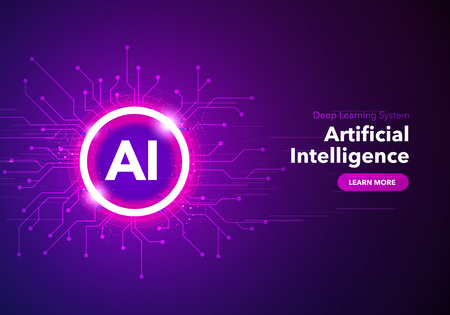 Vector illustration of artificial intelligence landing page. Website template for ai machine deep learning technology sci-fi concept.
