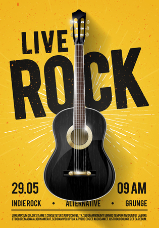 Vector Illustration Beautiful Live Classic Rock Music Poster template. For concert promotion in clubs, bars, pubs and public places. Music Themed Wall Art with Cool Lettering and Classical Guitar
