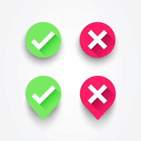 Vector illustration check box list icons set. Green checkmark OK and red X, Tick and Cross Signs, YES and NO button for vote  イラスト・ベクター素材