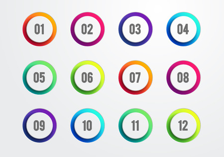 Vector illustration Creative Number Bullet Point Set Cut Out Rings 1 to 12, Flat color gradient web icon element Illustration