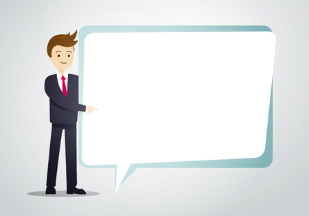 Vector illustration of business man holding speech bubble sheet for text