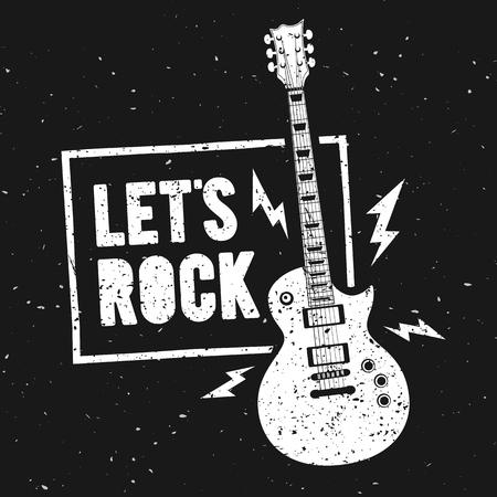 Vector Illustration Lets Rock Music Print Graphic Design with Guitar. Vintage stamp label. T-Shirt Lettering Artwork With Grunge Effect Ilustração