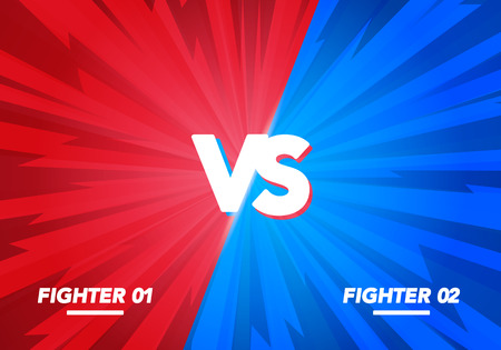 Vector illustration Versus screen. Vs Fight background for battle, competition and game. red vs blue fighter. 일러스트