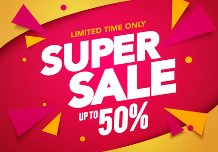 Vector illustration super sale banner template design, Big sales special offer. end of season party background Ilustracja