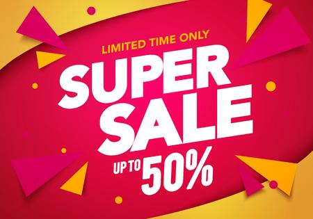 Vector Illustration Super Sale Banner Template Design, Großverkauf Sonderangebot. Hintergrund für die Party am Ende der Saison Vektorgrafik