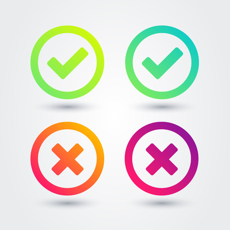 Vector Illustration Colorful Flat Gradient Checkmark Icon Set. Apps and websites element. 向量圖像