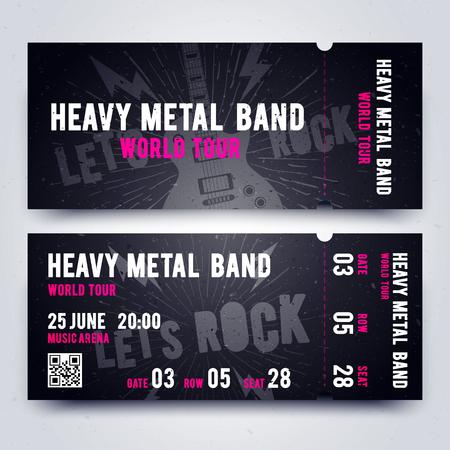 Vector Illustration Music Concert Ticket Template. Dark, Black Color Design For Rock Music Event. Illustration