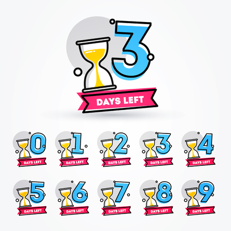 ector Illustration Number of Days Left with Hourglass Hourglass Badge for Sale, Promotion or Retail