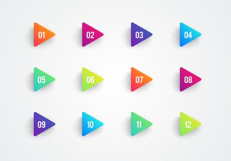 Flecha vectorial Banderas triangulares de punto de bala Marcadores 3d degradados coloridos con el número 1 a 12