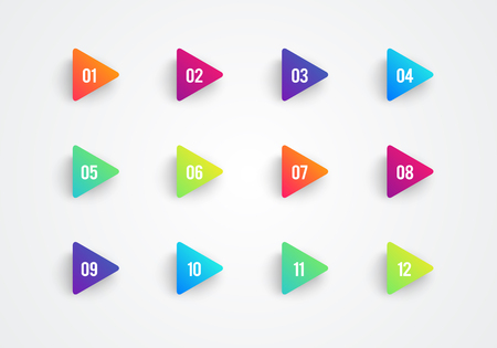 Vector Arrow Bullet Point Triangle Flags Colorful Gradient 3d Markers With Number 1 To 12 Иллюстрация