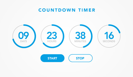 vector illustration countdown timer website element with buttons. Flat digital clock timer application template for soon or under construction Ilustrace