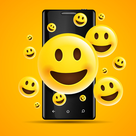 vector illustration realistic happy yellow emojis, emoticons in front of a smartphone