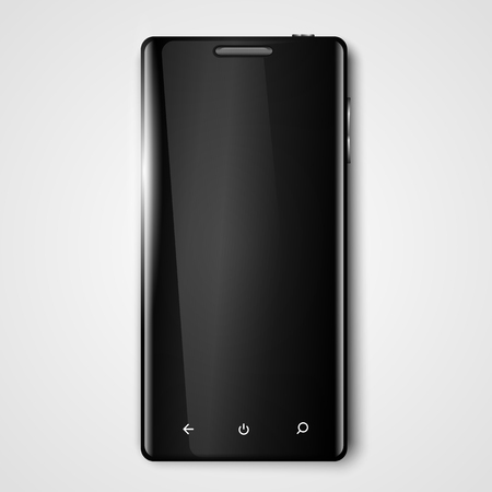 Modern vector black smartphone template with full screen. Mobile phone.