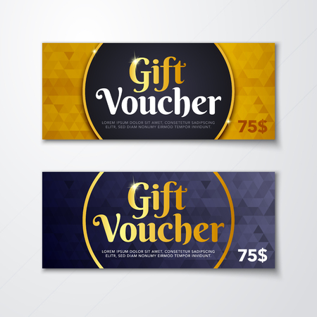 Vector illustration of gold premium voucher template with gold pattern, certificate. Background design coupon, invitation, currency. Stock Illustratie