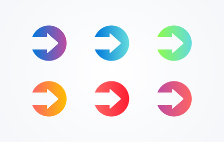 colorful play sign icon button set on white background. Flat line gradient button collection. Vector web element Vector Illustration