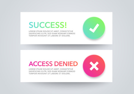 Vector illustration set of interface dialog box - success, access denied, with modern colorful flat line gradient icons, web element