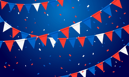 Vector Illustration Festive Party Background with Flags Garlands and Serpentine