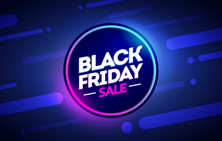 vector illustration black friday sale offer neon banner