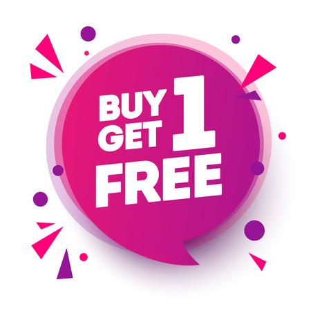 Vektor-Illustration 1 kaufen, 1 gratis bekommen, Sale-Tag, Banner-Design-Sprechblase-Vorlage