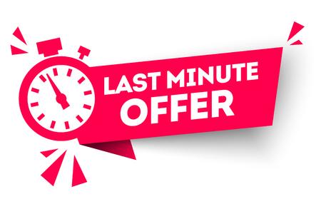 vector illustration red last minute offer button sign, flat modern label, alarm clock countdown logo Logo