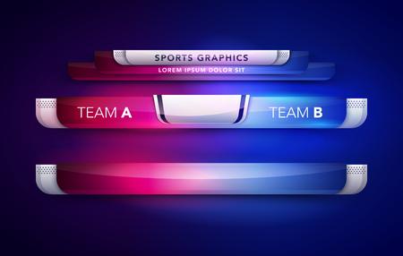 Vector Illustration Anzeigetafel Team A Vs Team B Broadcast Grafik und untere Drittel Vorlage für Sport, Fußball und Fußball