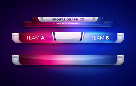 Vector Illustration Scoreboard Team A Vs Team B Broadcast Graphic And Lower Thirds Template For Sport, Soccer And Football 矢量图像