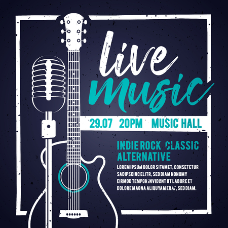Vector illusion banner with an acoustic guitar and a microphone for concert, live music and party Illustration